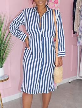 Casual Striped Long Sleeve Shirt Long Sleeve Dress