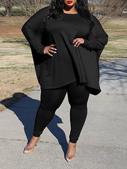 Autumn Casual Solid Plus Size Trouser Set Women