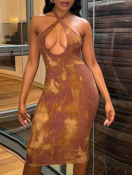 Seductive Halter Tie Wrap Print Skinny Dresses
