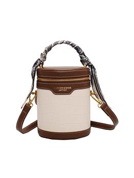 Fall Scarf Contrast Color Shoulder Bucket Bag