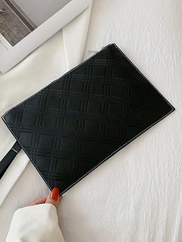 Casual Pore Color Zipper Up Handbag For Women