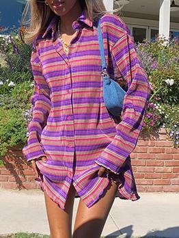 Casual Stylish Striped Long Sleeve Shirt Dress