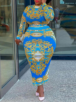 New Arrival Printed National Style Plus Size Maxi Dress