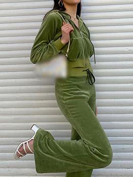 Trendy Solid Loose Hoodie 2 Piece Pant Sets