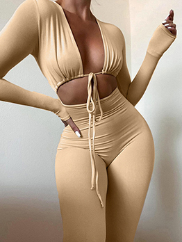 Fall Hollow Out Bodycon Long Sleeve Jumpsuit