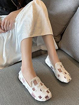 Fashion Grid Mesh Design Casual Slip On Flats