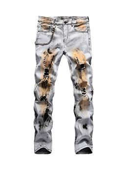 Hip Hop Hole Straight Jeans Men