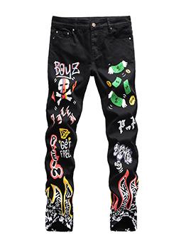 Popular Register Print Skull Jeans Men
