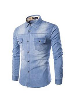 New Denim Long Sleeve Mens Outwear