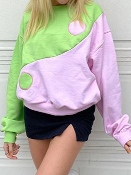 Easy Matching Contrast Color Crew Neck Loose Sweatshirt