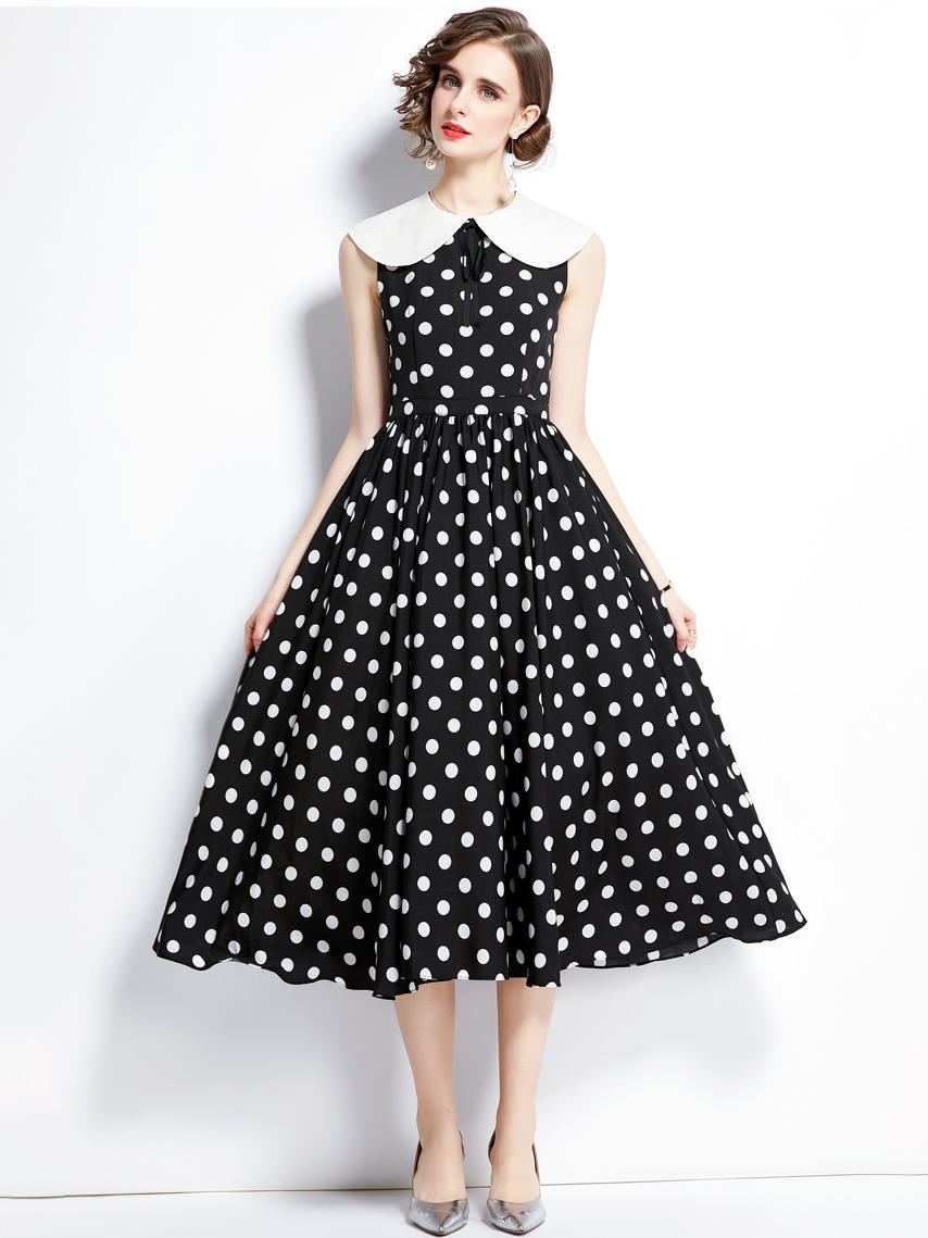 Retro Dot Doll Collar Sleeveless Midi Dress