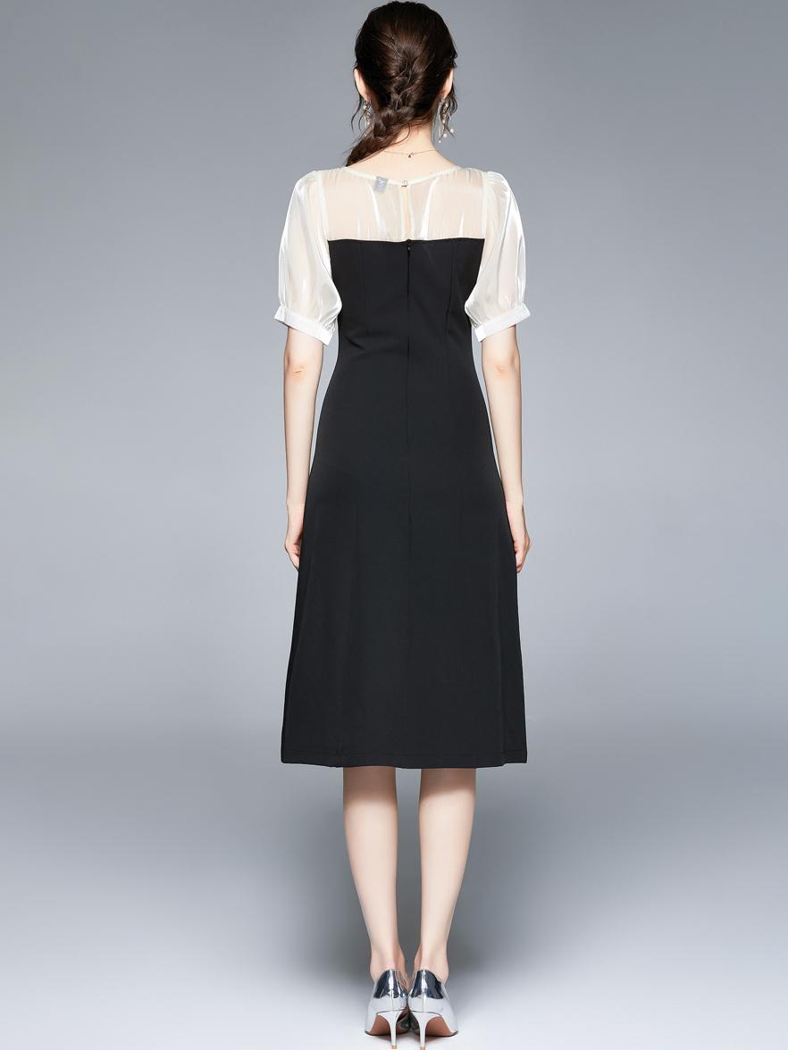 Elegant Patchwork Puff Sleeve Slit Dress