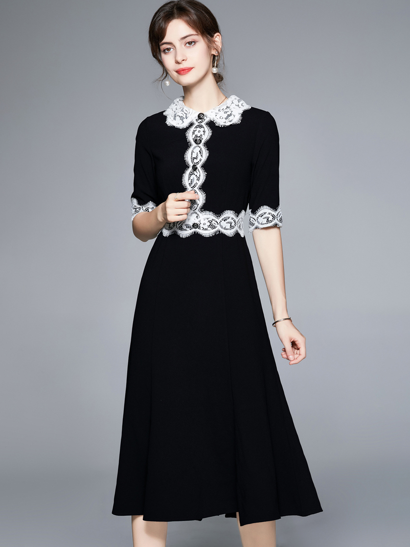 Patchwork Lace Turndown Collar Fitted Short Sleeve Dress