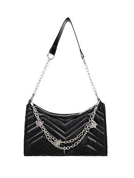 Street Butterfly Chain Zipper Up Solid Shoulder Bag