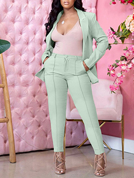 Solid Notch Collar Business Work Two Pieces Pants Set