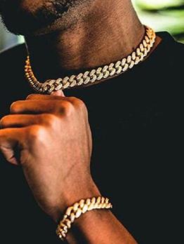 Hip Hop Solid Thick Chain Street Necklaces Bracelet