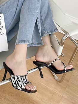 Fashion Rhinestone Zebra Printed Square Toe Heeled Slippers