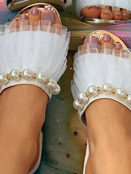 Beach Faux Pearl Patchwork Slide Slipper For Women