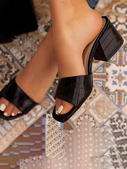 Summer Chunky Slip On Heeled Slippers For Women