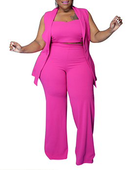 Plus Size Solid Three Piece Outfits