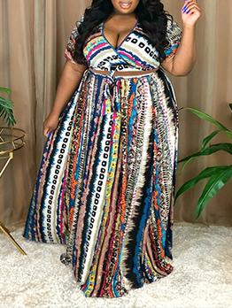 Plus Size V Neck 2 Piece Maxi Skirt Set