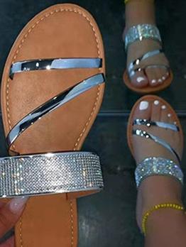 Outdoors Open Toe Rhinestone Flat Sandals Women