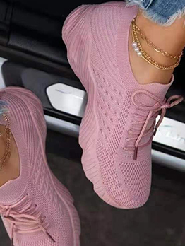 Thick Bottom Solid Lace Up Sneakers