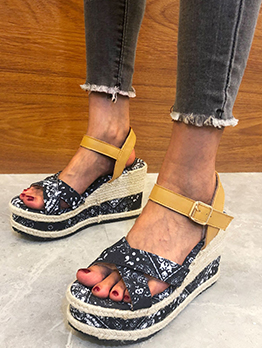 Chic Print Open Toe Heeled Sandals Plus Size