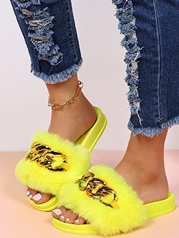 Golden Chain Fluffy Comfort Slide Slippers