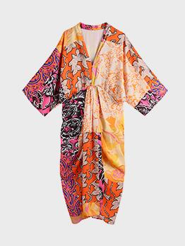 National Vintage V Neck Patchwork Printed Maxi Dress