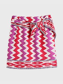 Summer Contrast Color Tie Wrap Short Skirt