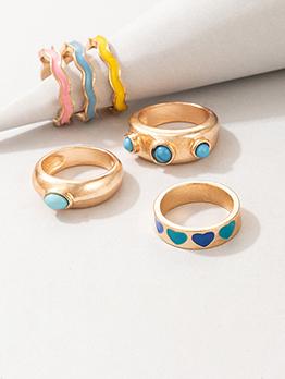 Versatile Cute Honey Girl Geometry Ring Sets Chic