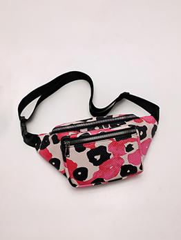 Running Outdoor Contrast Color Printed Shoulder Bum Bag