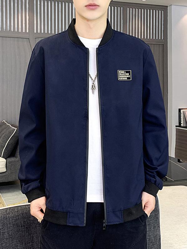 Youthful Letter Zipper Up Long Sleeve Coat