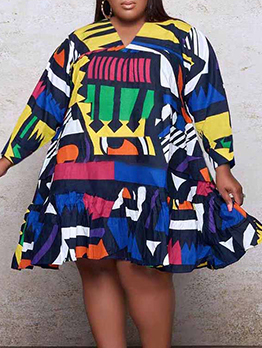 Plus Size Colorful Print Long Sleeve Dress