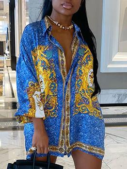 Vintage Print Fashion Plus Size Long Sleeve Shirt Dresses