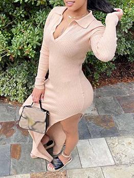 Knitted V Neck Side High Slit Long Sleeve Maxi Dress