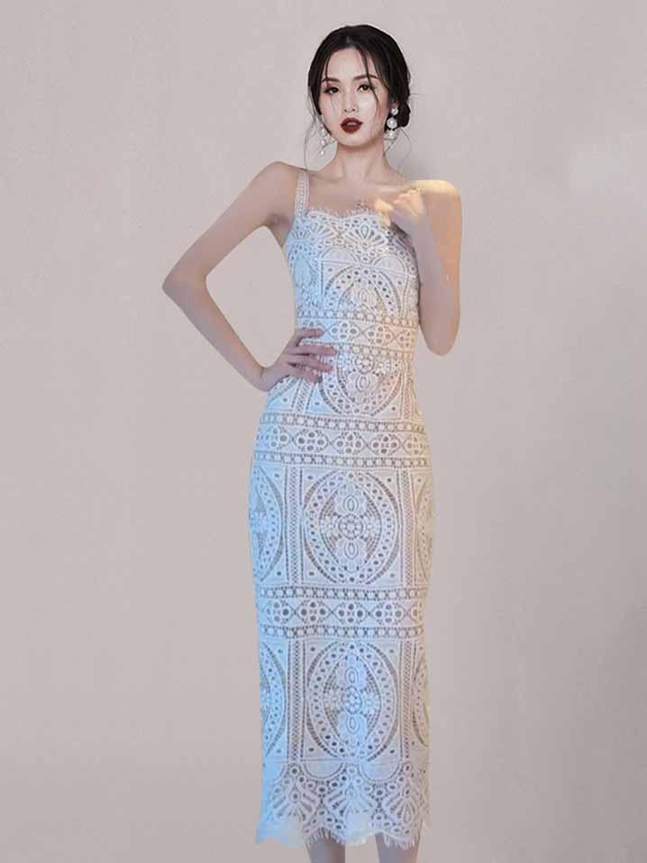 Charming Venise Lace Fashion Sleeve Dress