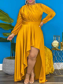Loose Solid Asymmetrical Hem Long Sleeve Maxi Dress