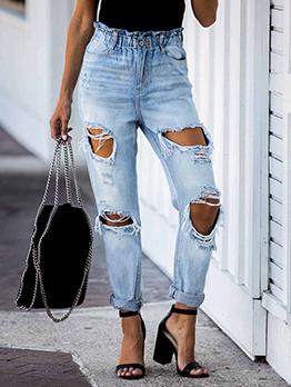Stylish Holes Design Straight Denim Jeans Women