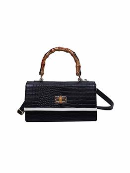 Elegant Vintage Alligator Printed Twist Lock Handbag