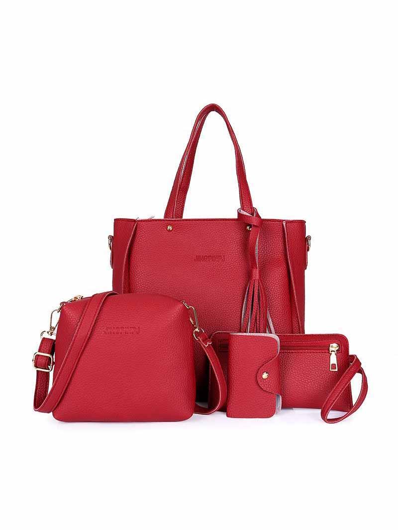 Simple Design Solid Shoulder Bag Handbag Sets