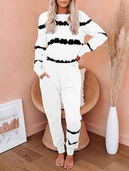 House Contrast Color Long Sleeve Pants Set