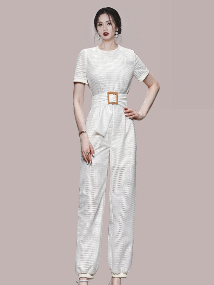 Temperament Solid Belt Short Sleeve Jumpsuit