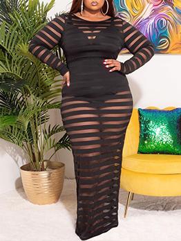 Plus Size Black Transparent Gauze Maxi Dress