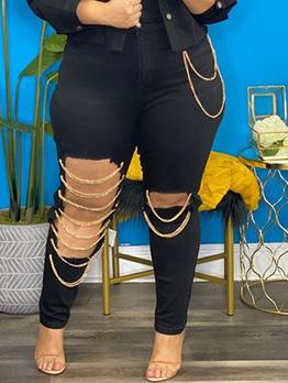 Plus Size Hollow Out Patch Denim Pants