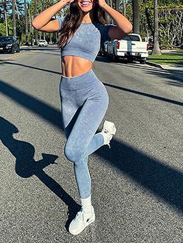 Short Sleeve And Pants Set Fitness Yoga Tracksuit