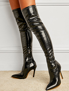 Fashion Solid Point Toe Heeled Boots