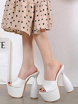 Sexy Solid High Heels Platform Ladies Slippers