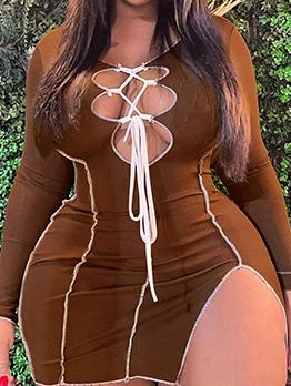 Sexy Hollow Out Plus Size Mini Dress